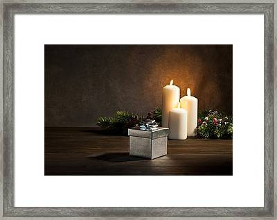 Candles Present In Christmas Setting Framed Print by Ulrich Schade