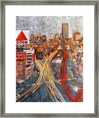 Car Lights Framed Print by Romina Diaz-Brarda