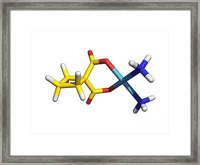 Carboplatin Molecule, Cancer Drug Framed Print by Dr. Tim Evans