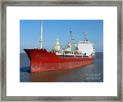 Cargo Ship Framed Print by Olivier Le Queinec