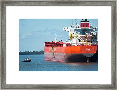 Cargo Shipping On The Mississippi River Framed Print by Jim West