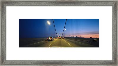 Cars On A Suspension Bridge, Bay Framed Print