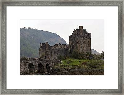 Cartoon - Structure Of The Eilean Donan Castle With A Stone Bridge Framed Print