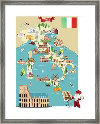 Cartoon Map Of Italy Framed Print by Drmakkoy