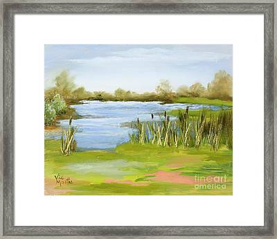 Framed Print featuring the painting Cattails At Forest Park by Vic  Mastis