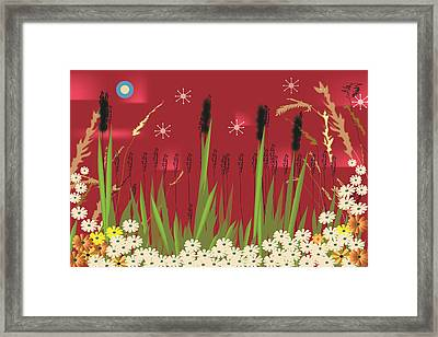 Framed Print featuring the digital art Cattails by Kim Prowse