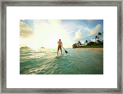 Caucasian Man On Paddle Board In Ocean Framed Print by Colin Anderson Productions Pty Ltd