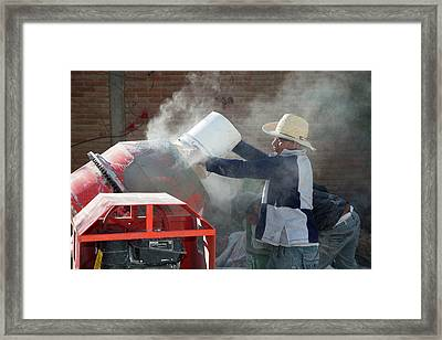 Cement Mixing For Road-building Framed Print