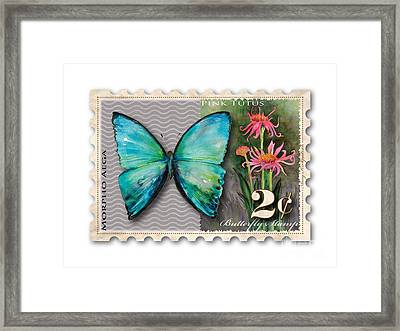 2 Cent Butterfly Stamp Framed Print