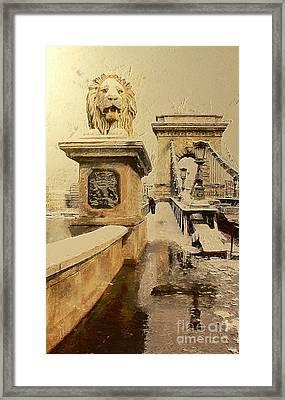 Chain Bridge In Budapest Framed Print by Odon Czintos