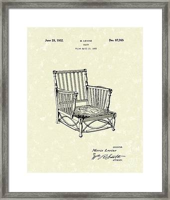 Chair 1932 Patent Art Framed Print by Prior Art Design