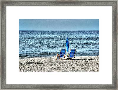 Framed Print featuring the digital art 2 Chairs And Umbrella by Michael Thomas