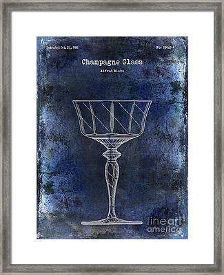 Champagne Glass Patent Drawing Blue  Framed Print by Jon Neidert