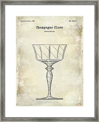 Champagne Glass Patent Drawing Framed Print by Jon Neidert