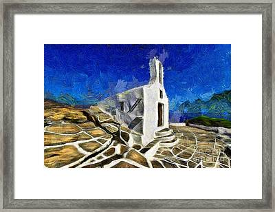 Chapel In Ios Island Framed Print