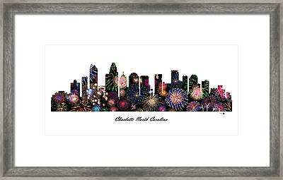 Charlotte North Carolina Fireworks Skyline Framed Print