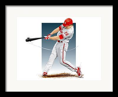 Chase Utley Digital Art Framed Prints