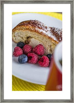 Cheese Pie And Berries On A White Plate Framed Print by Anton Potapenko