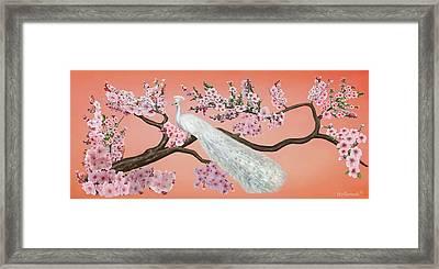 Cherry Blossom Peacock Framed Print