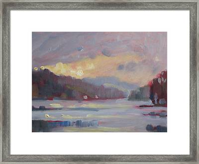 Framed Print featuring the painting Cheshire Lake by Len Stomski