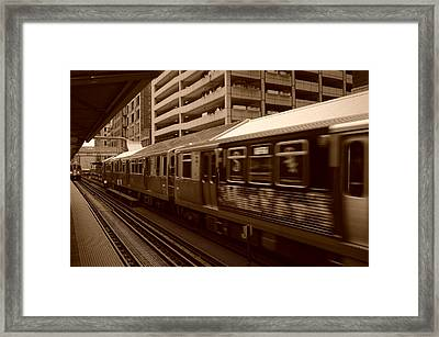 Framed Print featuring the photograph Chicago Cta by Miguel Winterpacht