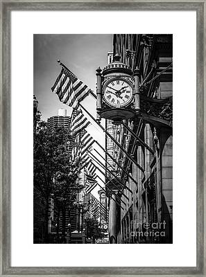 Chicago Macy's Clock In Black And White Framed Print by Paul Velgos