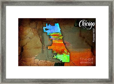 Chicago Map Watercolor Framed Print by Marvin Blaine