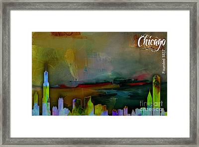 Chicago Skyline Watercolor Framed Print by Marvin Blaine