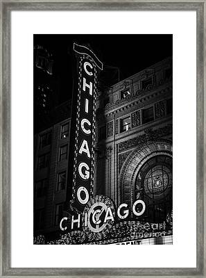 Chicago Theatre Sign In Black And White Framed Print