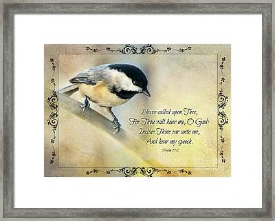 Chickadee With Verse Framed Print