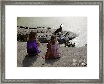 Children At The Pond 3 Framed Print by Madeline Ellis