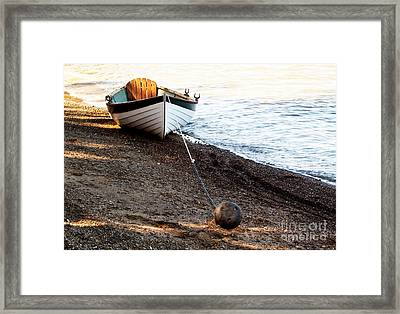 China Beach Rowboat Framed Print
