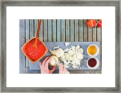 Chopping Onions Framed Print