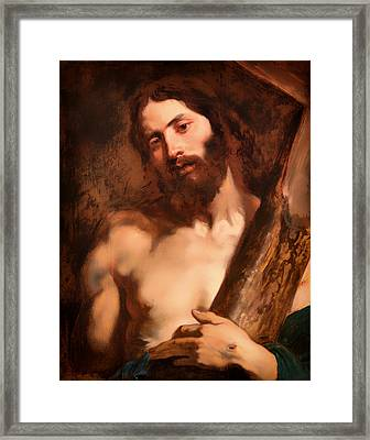 Christ Carrying The Cross Framed Print by Mountain Dreams