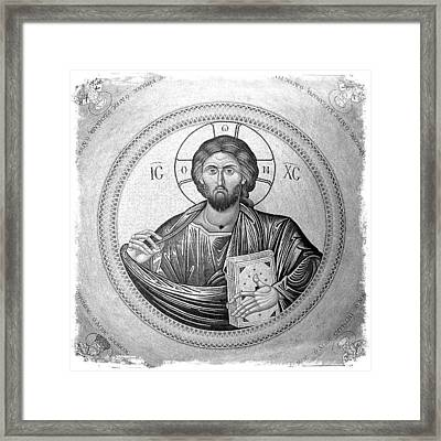 Christ Pantocrator In Black And White -- Church Of The Holy Sepulchre Framed Print by Stephen Stookey