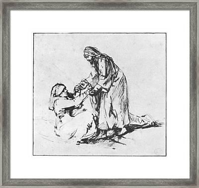 Christ Helping Up Lady Framed Print