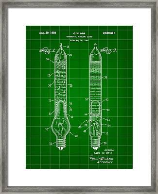 Christmas Bubbling Light Bulb Patent 1945 - Green Framed Print