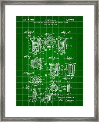 Christmas Bulb Socket Patent 1936 - Green Framed Print