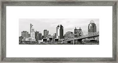 Cincinnati Black And White Panorama Framed Print