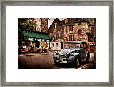 Framed Print featuring the photograph Citroen 2cv In French Village / Meyssac by Barry O Carroll