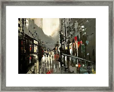 Cityscape Oil Painting Framed Print