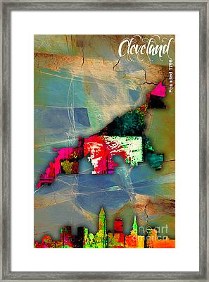 Cleveland Map And Skyline Watercolor Framed Print by Marvin Blaine