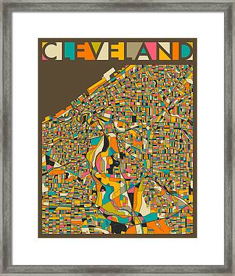 Cleveland Map Framed Print by Jazzberry Blue