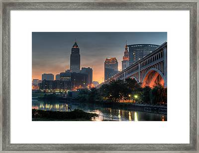 Cleveland Skyline At Dawn Framed Print by At Lands End Photography