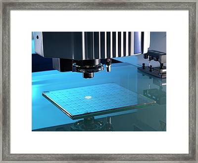 Co-ordinate Measuring Machine Testing Framed Print by Andrew Brookes, National Physical Laboratory