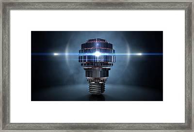 Cogwheel Lightbulb Shape Concept Framed Print by Allan Swart
