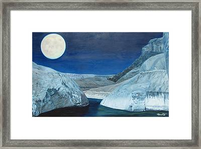 Cold Water Passage Beneath Full Moon Framed Print