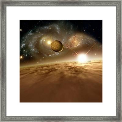Colliding Galaxies Framed Print by Detlev Van Ravenswaay