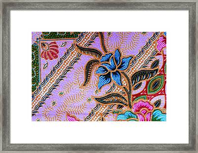 Colorful Batik Cloth Fabric Background  Framed Print by Prakasit Khuansuwan