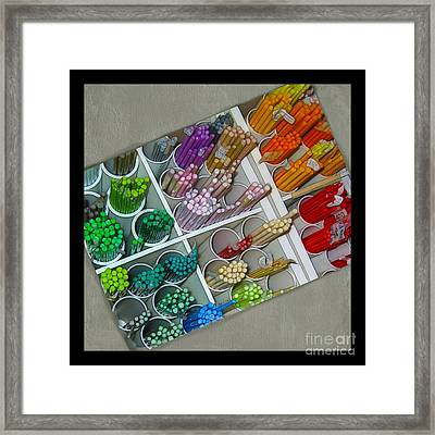 Colorful Glass Rods Framed Print